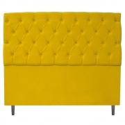 Cabeceira Estofada Liverpool 140 cm Casal Suede Amarelo - Doce Sonho Móveis