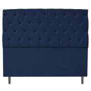 Cabeceira Estofada Liverpool 140 cm Casal Suede Azul Marinho - Doce Sonho Móveis