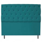 Cabeceira Estofada Liverpool 140 cm Casal Suede Azul Turquesa - Doce Sonho Móveis