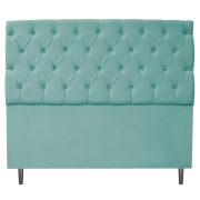 Cabeceira Estofada Liverpool 160 cm Queen Size Suede Azul Tiffany - Doce Sonho Móveis