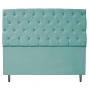 Cabeceira Estofada Liverpool 195 cm King Size Suede Azul Tiffany - Doce Sonho Móveis