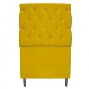 Cabeceira Estofada Liverpool 90 cm Solteiro Suede Amarelo - Doce Sonho Móveis
