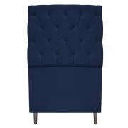 Cabeceira Estofada Liverpool 90 cm Solteiro Suede Azul Marinho - Doce Sonho Móveis