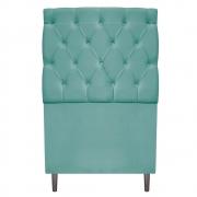 Cabeceira Estofada Liverpool 90 cm Solteiro Suede Azul Tiffany - Doce Sonho Móveis