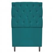 Cabeceira Estofada Liverpool 90 cm Solteiro Suede Azul Turquesa - Doce Sonho Móveis