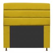 Cabeceira Estofada Turim 140 cm Casal  Suede Amarelo - Doce Sonho Móveis