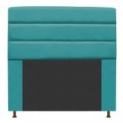 Cabeceira Estofada Turim 140 cm Casal  Suede Azul Turquesa - Doce Sonho Móveis