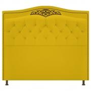 Cabeceira Estofada Yasmim 140 cm Casal Corano Amarelo - Doce Sonho Móveis