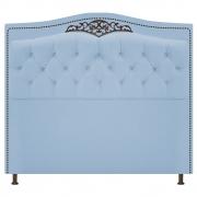 Cabeceira Estofada Yasmim 140 cm Casal Corano Azul Bebê - Doce Sonho Móveis