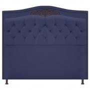 Cabeceira Estofada Yasmim 140 cm Casal Corano Azul Marinho - Doce Sonho Móveis