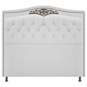 Cabeceira Estofada Yasmim 140 cm Casal Corano Branco - Doce Sonho Móveis
