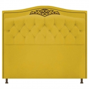 Cabeceira Estofada Yasmim 140 cm Casal Suede Amarelo - Doce Sonho Móveis