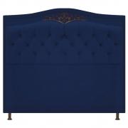 Cabeceira Estofada Yasmim 140 cm Casal Suede Azul Marinho - Doce Sonho Móveis