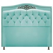 Cabeceira Estofada Yasmim 140 cm Casal Suede Azul Tiffany - Doce Sonho Móveis