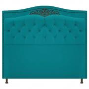 Cabeceira Estofada Yasmim 140 cm Casal Suede Azul Turquesa - Doce Sonho Móveis