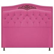 Cabeceira Estofada Yasmim 140 cm Casal Suede Pink - Doce Sonho Móveis