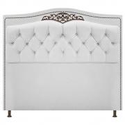 Cabeceira Estofada Yasmim 160 cm Queen Size Suede Branco - Doce Sonho Móveis