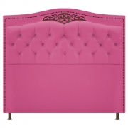 Cabeceira Estofada Yasmim 195 cm King Size Suede Pink - Doce Sonho Móveis