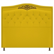 Cabeceira Estofada Yasmim 90 cm Solteiro Corano Amarelo - Doce Sonho Móveis