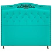 Cabeceira Estofada Yasmim 90 cm Solteiro Corano Azul Turquesa - Doce Sonho Móveis