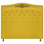 Cabeceira Estofada Yasmim 90 cm Solteiro Suede Amarelo - Doce Sonho Móveis