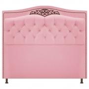 Cabeceira Estofada Yasmim 90 cm Solteiro Suede Rosa Bebê - Doce Sonho Móveis