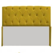 Cabeceira Lara 140 cm Casal Suede Amarelo - Doce Sonho Móveis