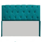 Cabeceira Lara 140 cm Casal Suede Azul Turquesa - Doce Sonho Móveis