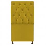 Cabeceira Sofia 100 cm Solteiro Suede Amarelo - Doce Sonho Móveis