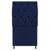 Cabeceira Sofia 100 cm Solteiro Suede Azul Marinho - Doce Sonho Móveis