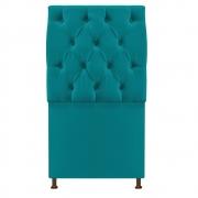 Cabeceira Sofia 100 cm Solteiro Suede Azul Turquesa - Doce Sonho Móveis