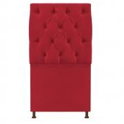 Cabeceira Sofia 100 cm Solteiro Suede Vermelho - Doce Sonho Móveis
