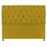 Cabeceira Sofia 140 cm Casal Suede Amarelo - Doce Sonho Móveis