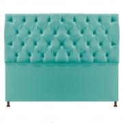 Cabeceira Sofia 140 cm Casal Suede Azul Tiffany - Doce Sonho Móveis
