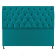 Cabeceira Sofia 140 cm Casal Suede Azul Turquesa - Doce Sonho Móveis