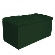 Calçadeira Estofada Liverpool 100 cm Solteiro Suede Verde - Doce Sonho Móveis