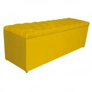 Calçadeira Estofada Liverpool 140 cm Casal Suede Amarelo - Doce Sonho Móveis