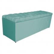 Calçadeira Estofada Liverpool 140 cm Casal Suede Azul Tiffany - Doce Sonho Móveis
