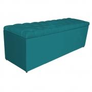 Calçadeira Estofada Liverpool 140 cm Casal Suede Azul Turquesa - Doce Sonho Móveis
