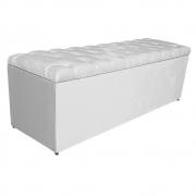 Calçadeira Estofada Liverpool 140 cm Casal Suede Branco - Doce Sonho Móveis