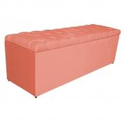 Calçadeira Estofada Liverpool 140 cm Casal Suede Coral - Doce Sonho Móveis