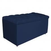 Calçadeira Estofada Liverpool 90 cm Solteiro Suede Azul Marinho - Doce Sonho Móveis