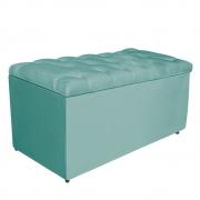 Calçadeira Estofada Liverpool 90 cm Solteiro Suede Azul Tiffany - Doce Sonho Móveis
