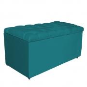 Calçadeira Estofada Liverpool 90 cm Solteiro Suede Azul Turquesa - Doce Sonho Móveis