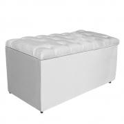Calçadeira Estofada Liverpool 90 cm Solteiro Suede Branco - Doce Sonho Móveis