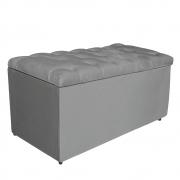 Calçadeira Estofada Liverpool 90 cm Solteiro Suede Cinza - Doce Sonho Móveis