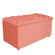 Calçadeira Estofada Liverpool 90 cm Solteiro Suede Coral - Doce Sonho Móveis