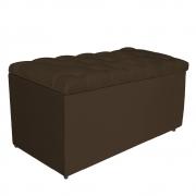 Calçadeira Estofada Liverpool 90 cm Solteiro Suede Marrom - Doce Sonho Móveis