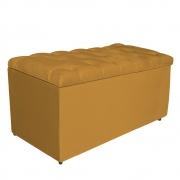 Calçadeira Estofada Liverpool 90 cm Solteiro Suede Mostarda - Doce Sonho Móveis