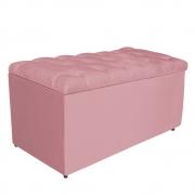 Calçadeira Estofada Liverpool 90 cm Solteiro Suede Rosa Bebê - Doce Sonho Móveis